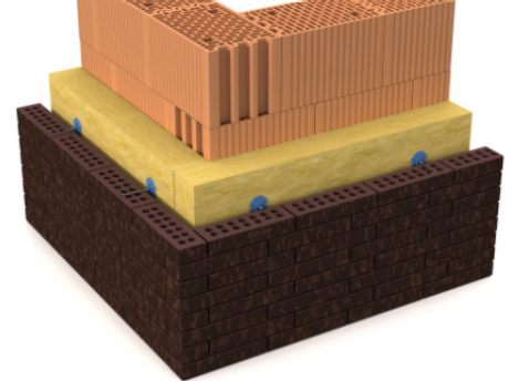3D rendering of a cavity wall; can be e.g. used for u-value calculator