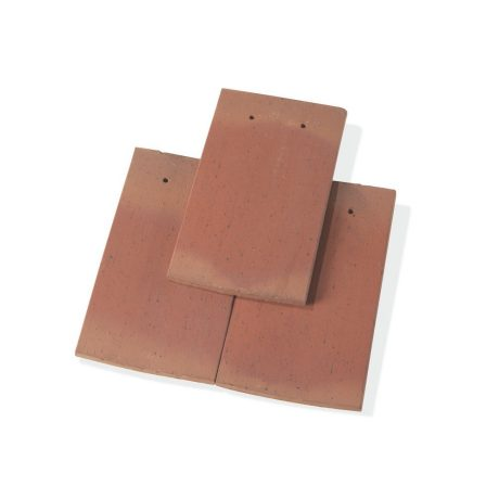 Single product shot of a Tegelpan Aleonard Pontigny Rouge Flamme roof tile