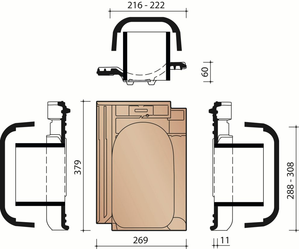 Technical drawing VHV Vario transit rooftile 125mm with connection module
