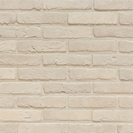 Agora Nevelwit facing bricks in a running bond with white joint