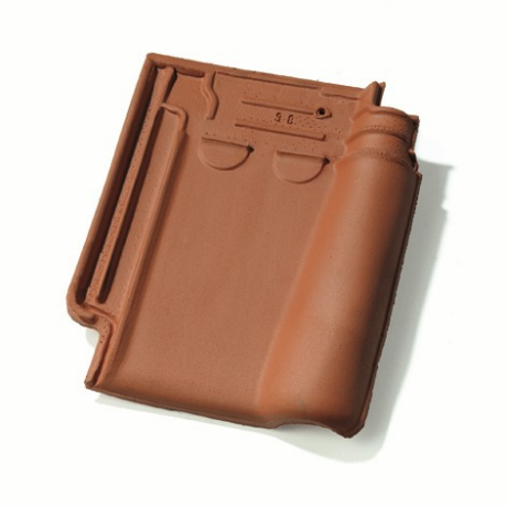 Single product shot of a Stormpan 993 Natuurrood roof tile