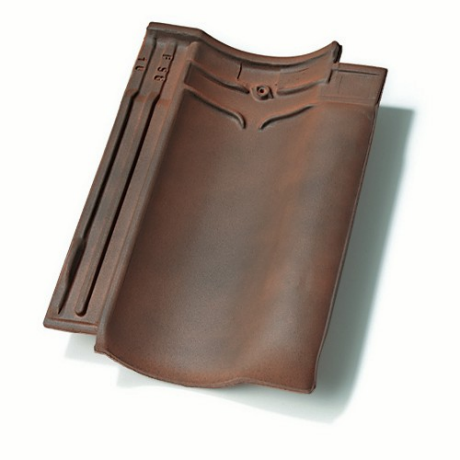 Single product shot of a Vlaamse Pan 401 Rustiek roof tile