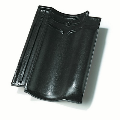 Single product shot of a Vlaamse Pan 401 Antraciet roof tile