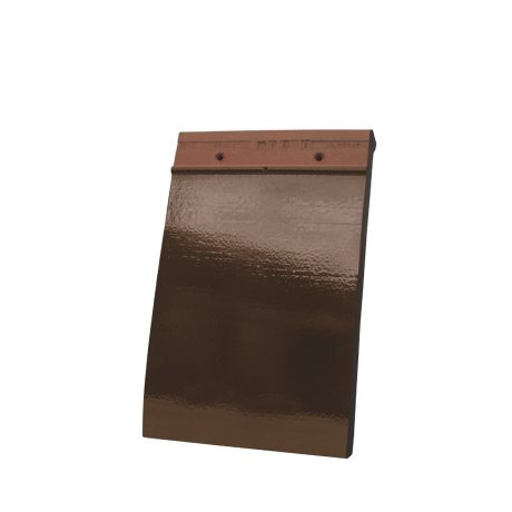 Single product shot of a Tegelpan 301 Bruin Geglazuurd roof tile