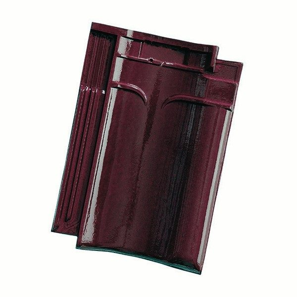 Single product shot of a VHV Wijnrood geglazuurd roof tile