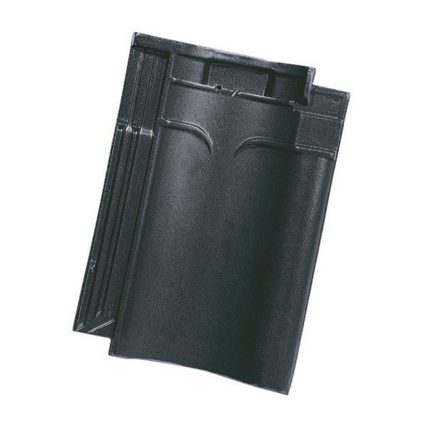 Single product shot of a VHV Mat Zwart Geglazuurd roof tile
