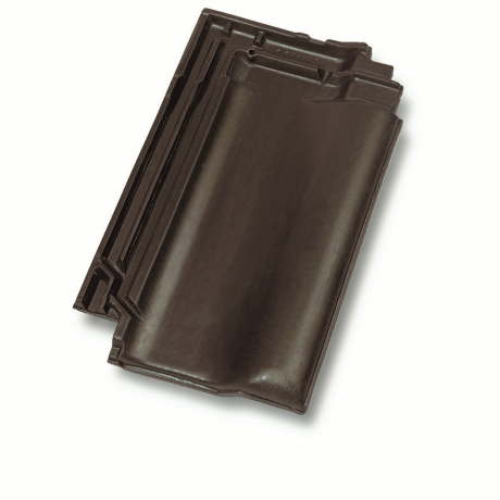 Single product shot of a Panne Bruin roof tile